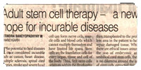 stem cell article published in The Pioneer