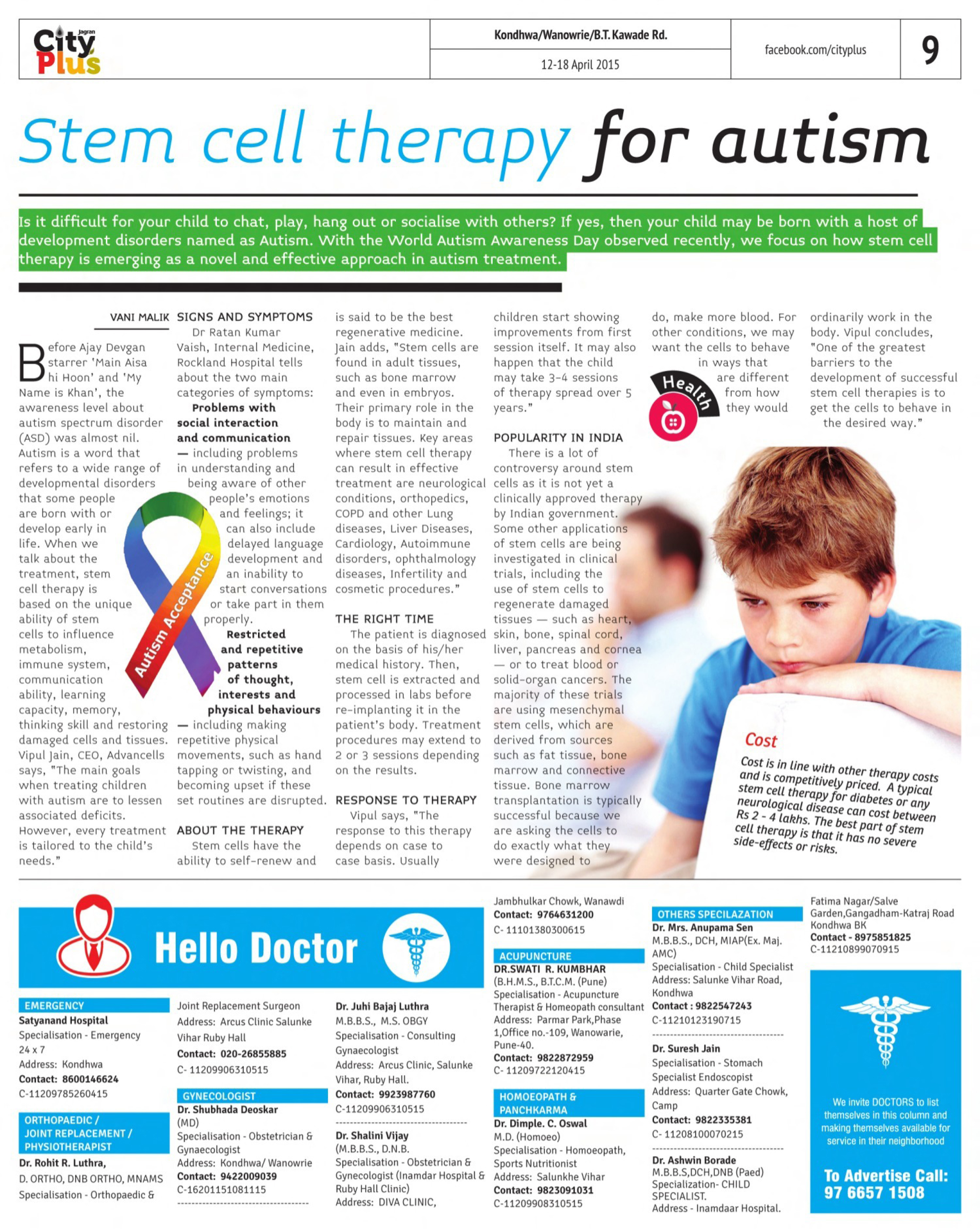 Stem Cell Therapy For Autism In Pune Advancells